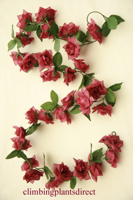 3x+Artificial+Flower+Garlands+in+Burgandy+Roses+and+Refreshing+Green+Leaf+Detail+%28150cm+long+and+30%2B+Flowers+%2D+5Ft%29