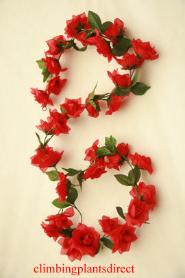 3x+Artificial+Flower+Garlands+in+Red+Roses+and+Refreshing+Green+Leaf+Detail+%28150cm+long+and+30%2B+Flowers+%2D+5Ft%29