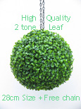 Hanging Artificial Boxwood Topiary Ball – 28cms (11 in'')  -  High quality two-tone leaf  COMPLETE with strong hanging chain with removable clips if you wish to use in pots or containers.