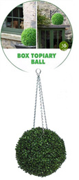 1 X Hanging Artificial Boxwood Topiary Ball– 36cms   -  High quality two-tone leaf  COMPLETE with strong hanging chain with removable clips if you wish to use in pots or containers.