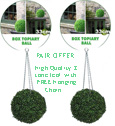 1 x pair of Artificial Boxwood Topiary Balls – 33cms (13 in'')  -  High quality two-tone leaf for pots and containers. Also supplied with FREE strong hanging chains with removable clips if you wish to use as hanging balls