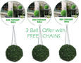 3 x Artificial Boxwood Topiary Balls – 33cms (13 in'')  -  High quality two-tone leaf for pots and containers. Also supplied with FREE strong hanging chains with removable clips if you wish to use as hanging balls