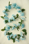 3x Artificial Flower Garlands in Baby Blue Roses and Refreshing Green Leaf Detail (150cm long and 30+ Flowers - 5Ft)