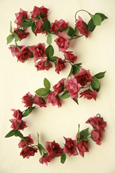 3x Artificial Flower Garlands in Burgandy Roses and Refreshing Green Leaf Detail (150cm long and 30+ Flowers - 5Ft)