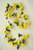 3x Artificial Flower Garlands in Yellow Roses and Refreshing Green Leaf Detail (150cm long and 30+ Flowers - 5Ft)