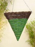 Brushwood and Green Maize Triangular Cone Shaped Hanging Basket