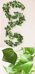 3x Artificial 6ft (183cms) Mini Ivy Leaves Garlands in Dark Green for Inside & Outside