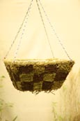 Designer Pair Offer Moss and Brushwood Flat-Bottomed Patchwork Hanging Baskets